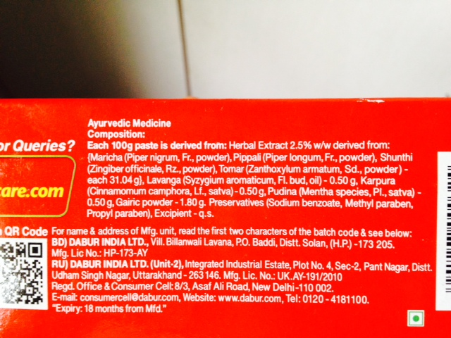 Dabur Red toothpaste ingredient list