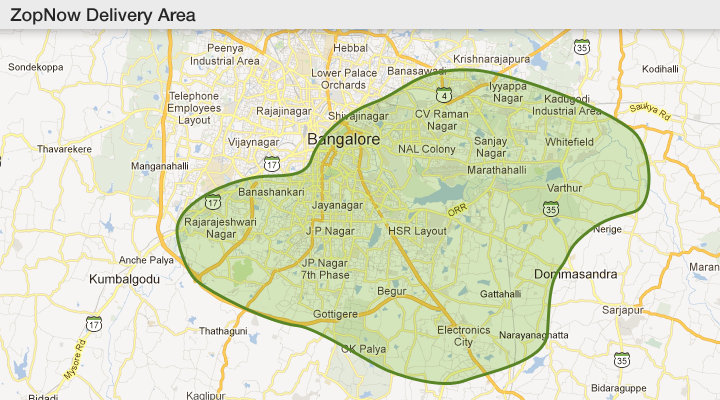 No delivery in North / N.E. Bangalore! (Image from Zopnow.com)