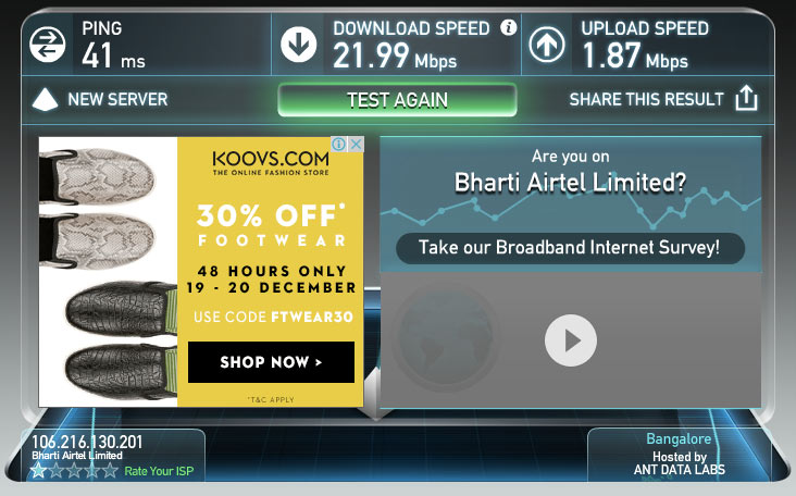 Airtel 4G Speed Test