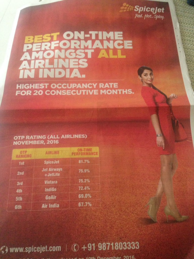 SpiceJet Ad - On-Time Performance Lie