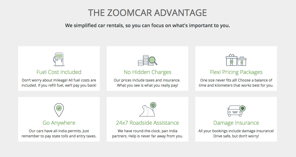 zoomcar advantage - car rental 2017